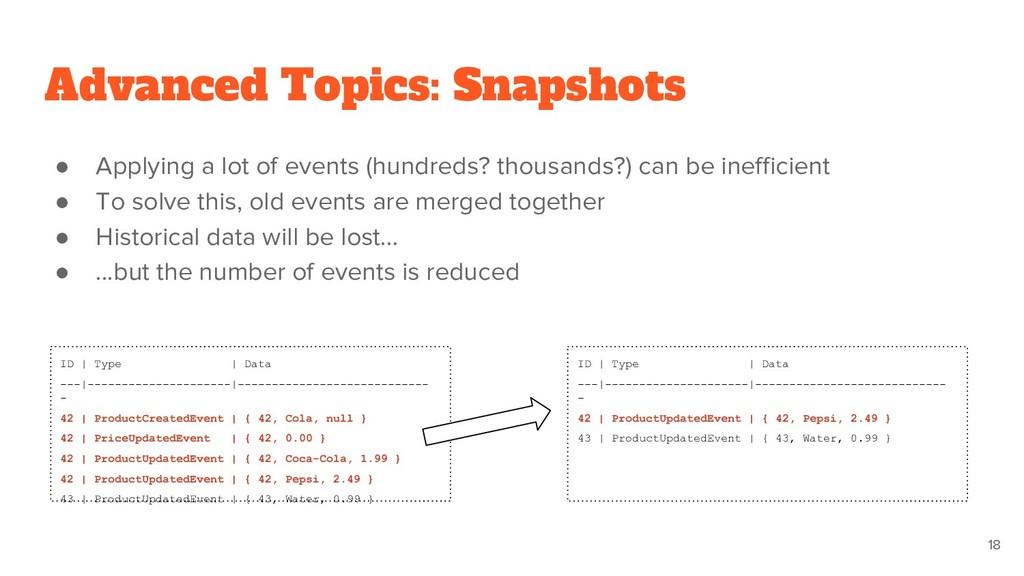 Advanced Topics: Snapshots ● Applying a lot of ...