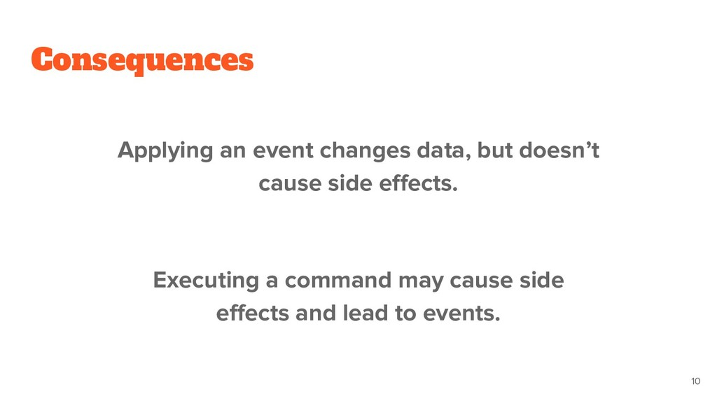 Consequences Applying an event changes data, bu...