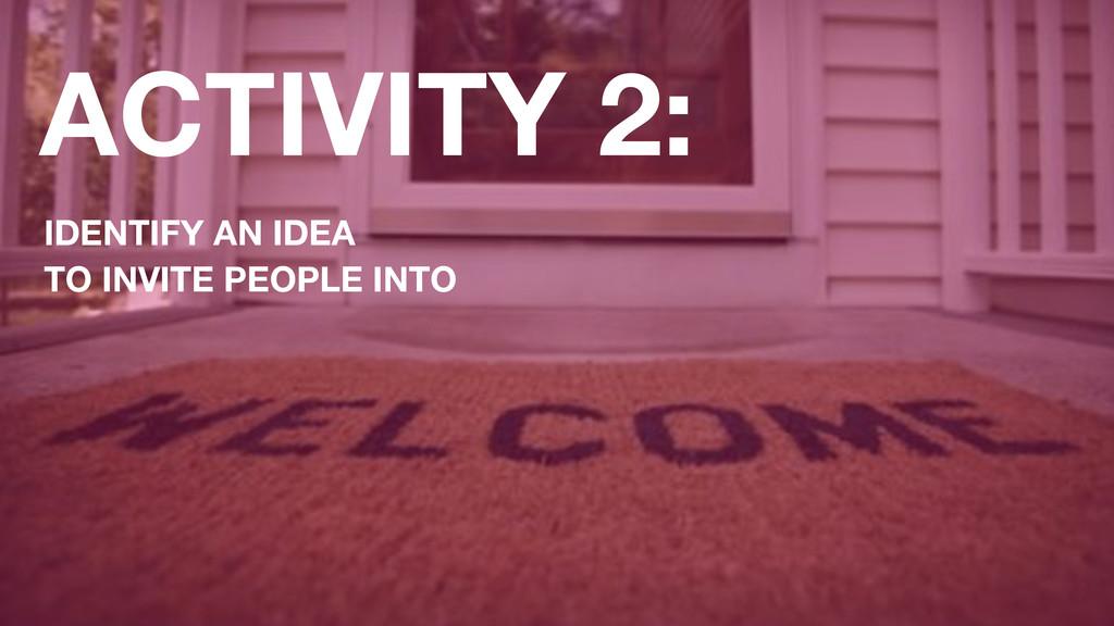 ACTIVITY 2: IDENTIFY AN IDEA TO INVITE PEOPLE I...