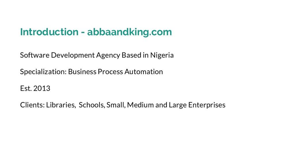 Introduction - abbaandking.com Software Develop...