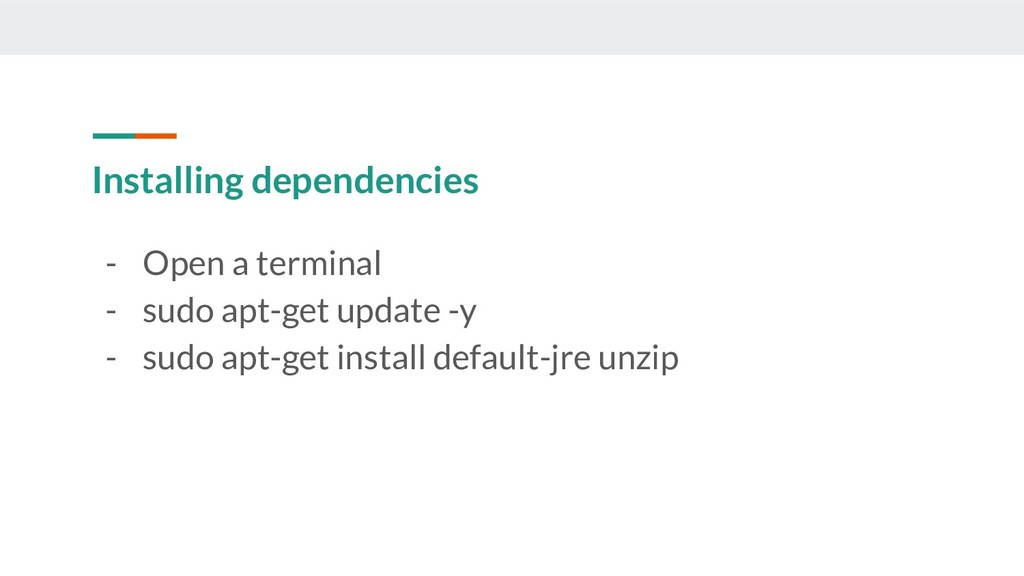 Installing dependencies - Open a terminal - sud...