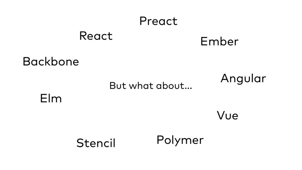 But what about... React Preact Ember Angular Vu...