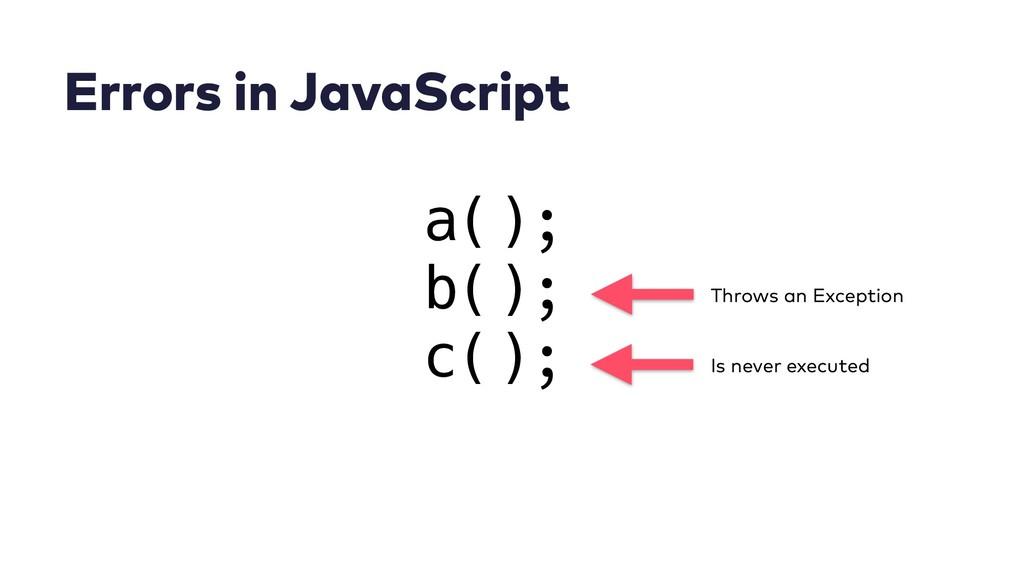 Errors in JavaScript a(); b(); c(); Throws an E...