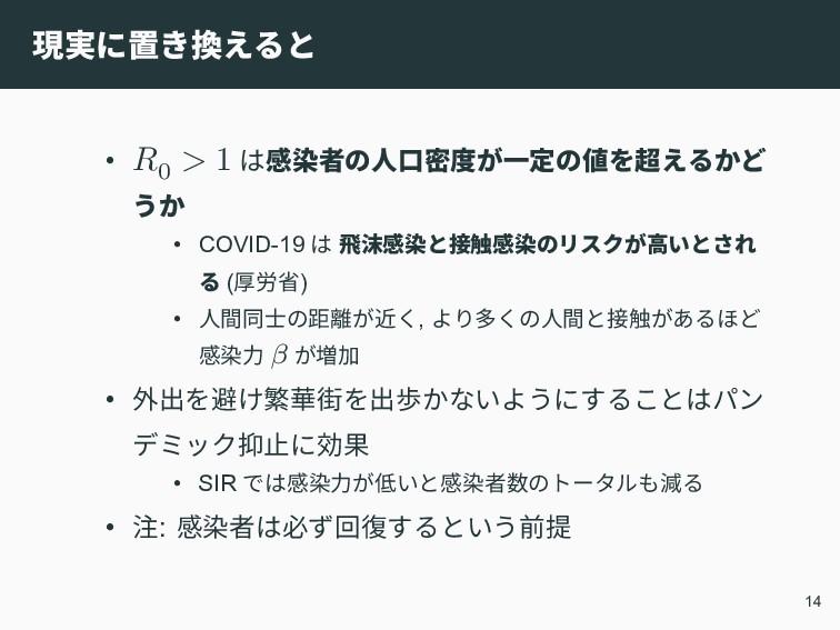 現実に置き換えると • 0 > 1 は感染者の人口密度が一定の値を超えるかど うか • COV...