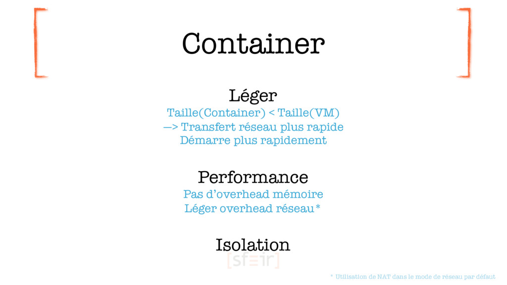 Container Léger Taille(Container) < Taille(VM)...