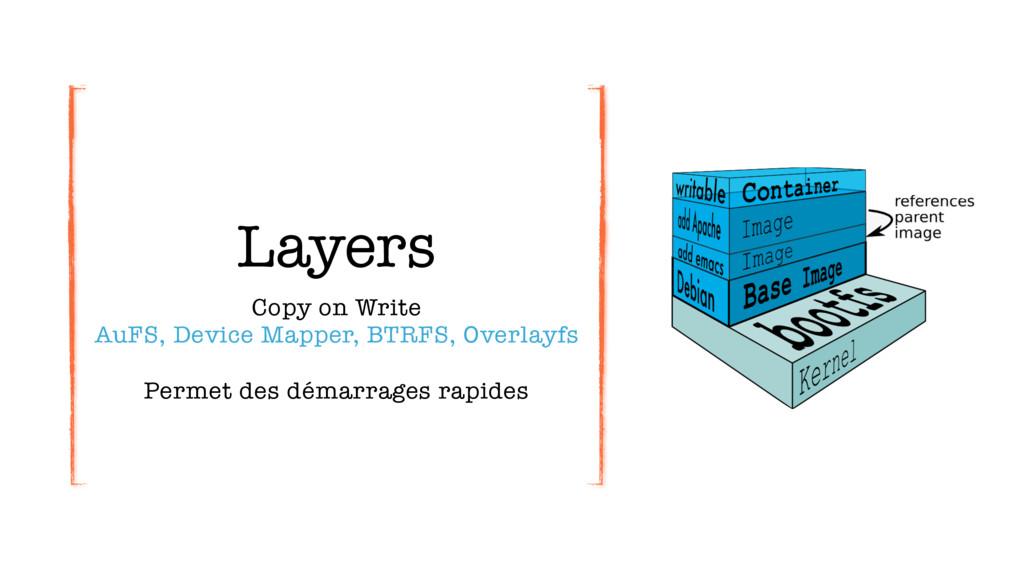 Layers Copy on Write AuFS, Device Mapper, BTRF...