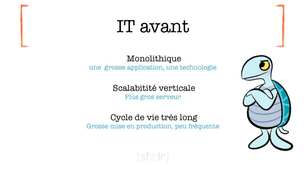 IT avant Monolithique une grosse application, ...