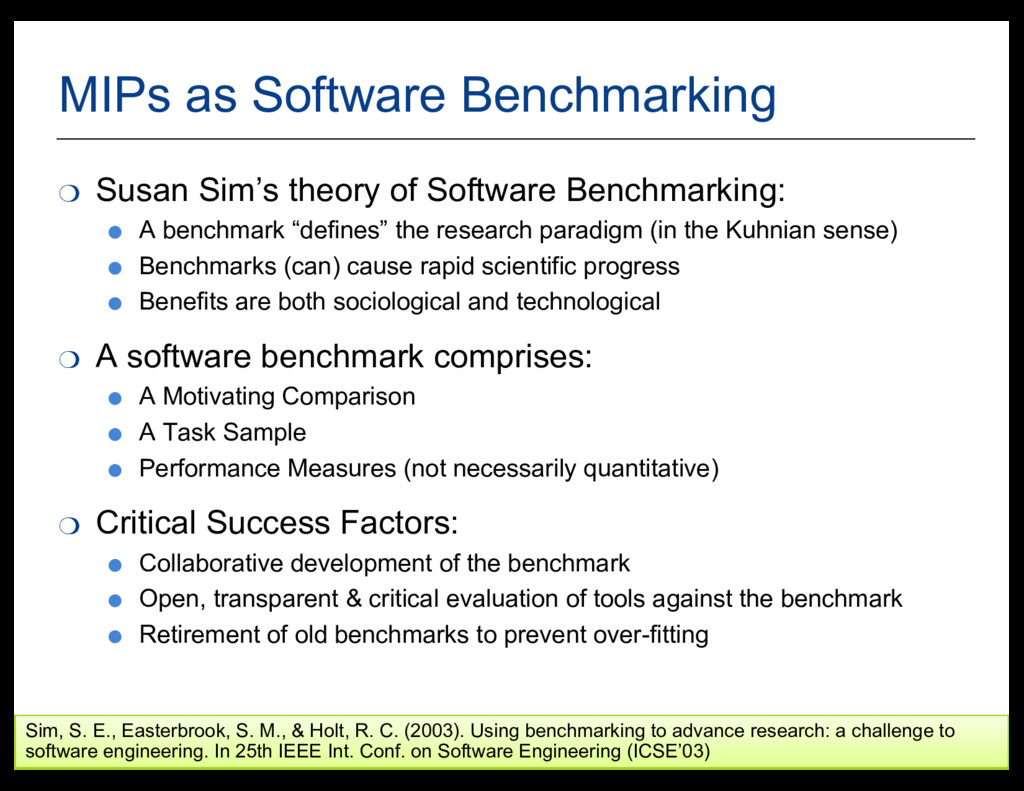 39 MIPs  as  Software  Benchmarking ❍ Susan  Si...