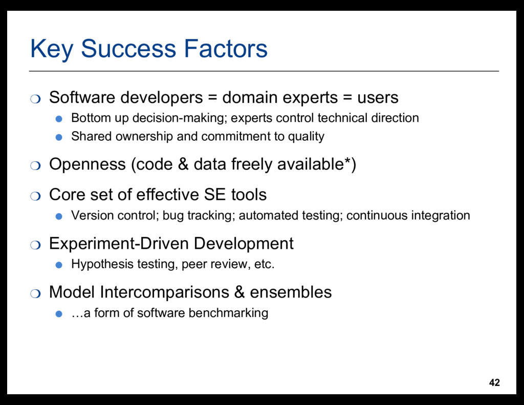 42 Key  Success  Factors ❍ Software  developers...