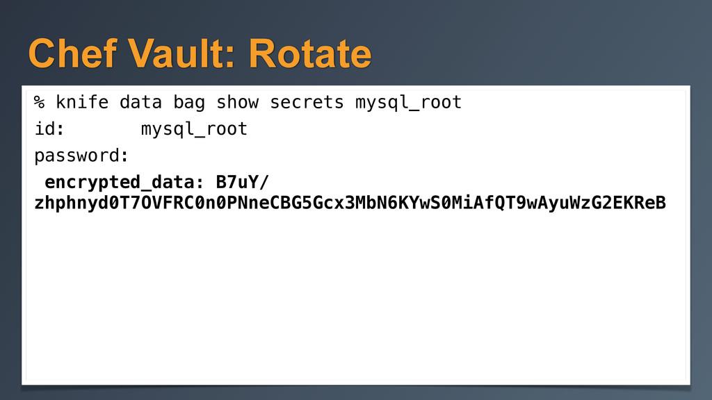 Chef Vault: Rotate % knife data bag show secret...