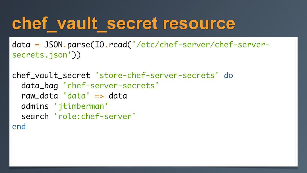 chef_vault_secret resource data = JSON.parse(IO...