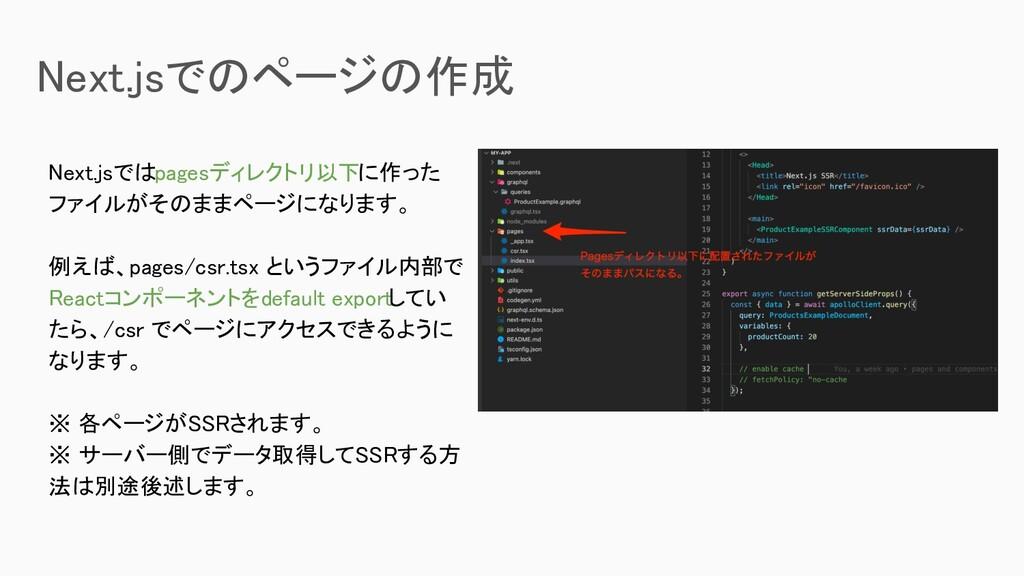 Next.jsではpagesディレクトリ以下に作った ファイルがそのままページになります。 ...