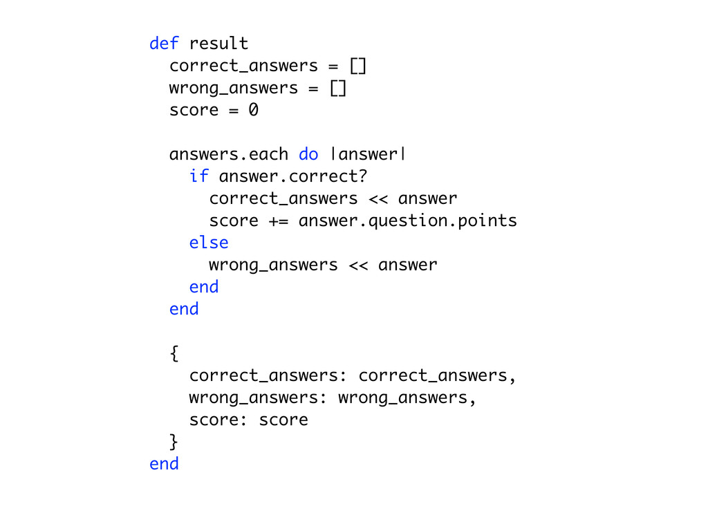def result correct_answers = [] for answer in a...