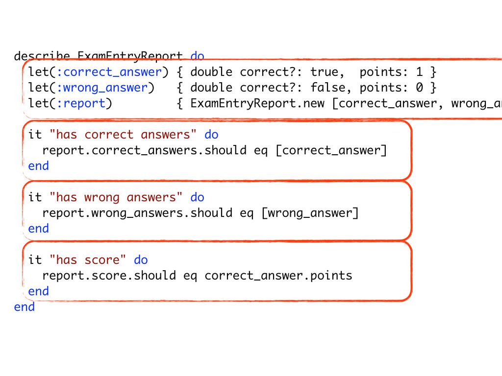 """describe ExamAnswer do describe """"#correct?"""" do ..."""
