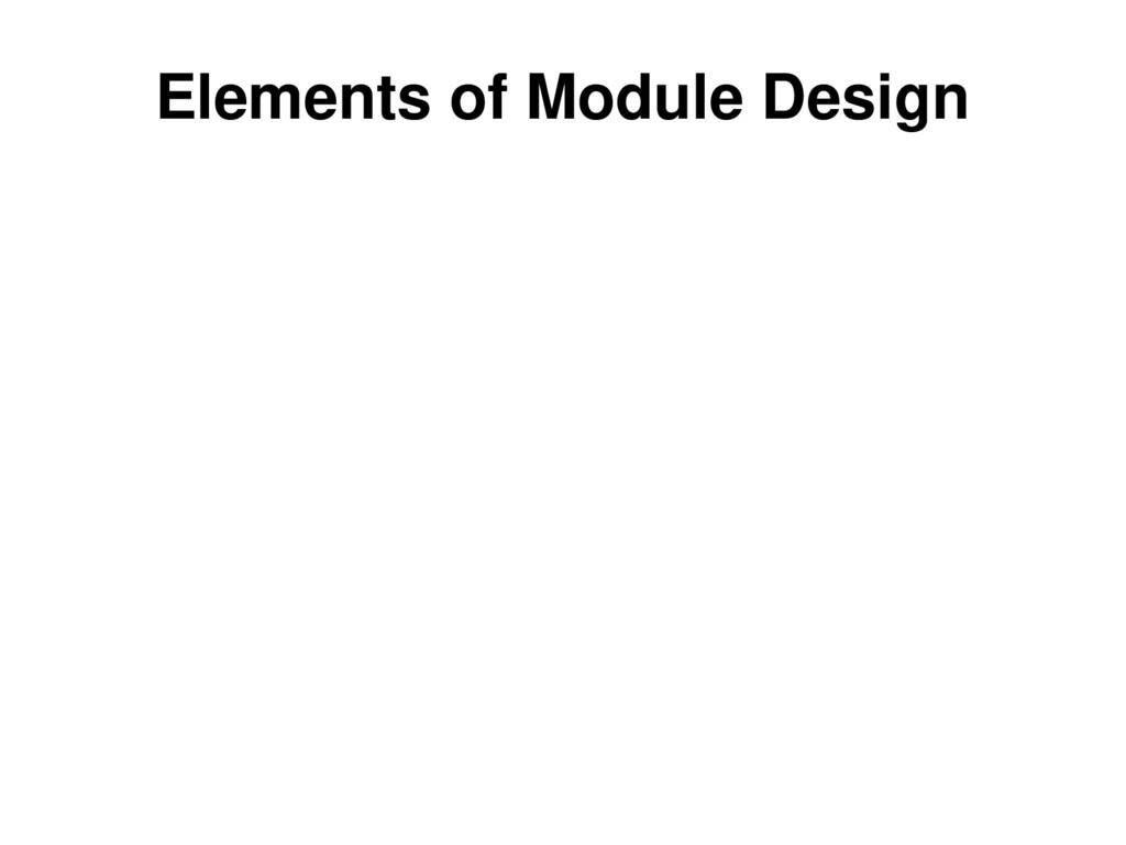 Elements of Module Design