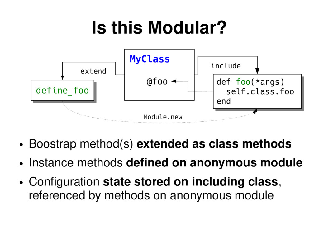 Is this Modular? ● Boostrap method(s) extended ...
