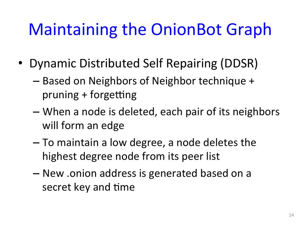 Maintaining the OnionBot Graph  • ...
