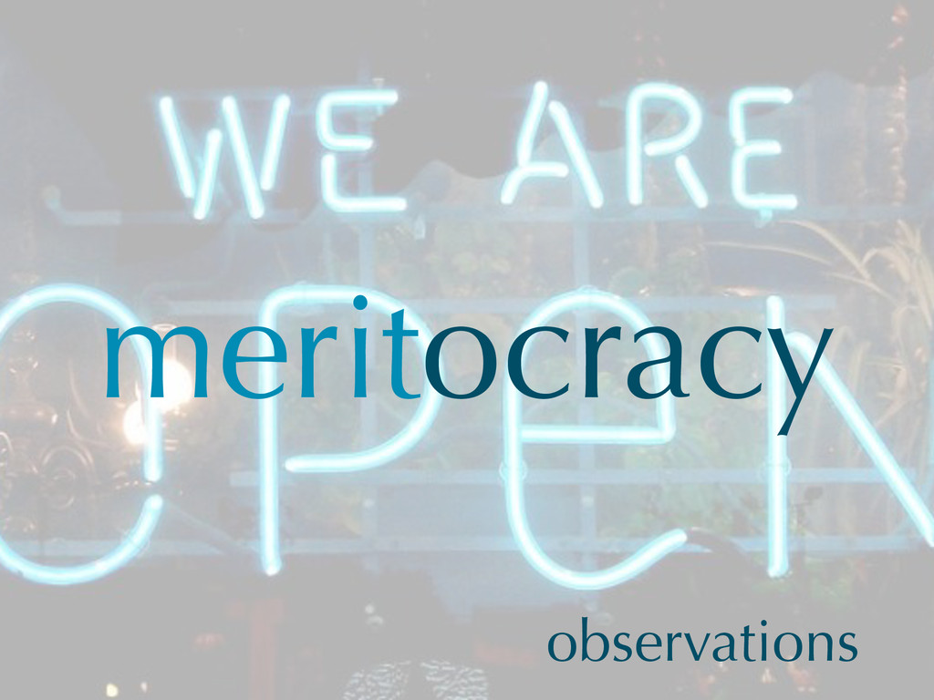meritocracy observations