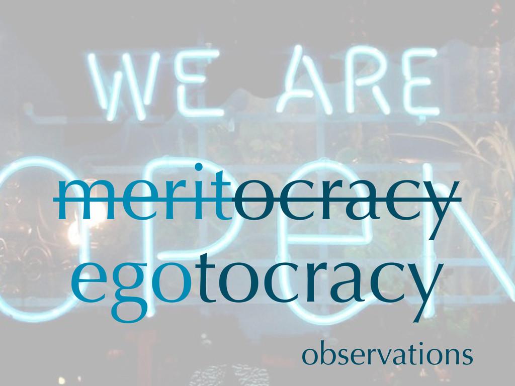 meritocracy egotocracy observations