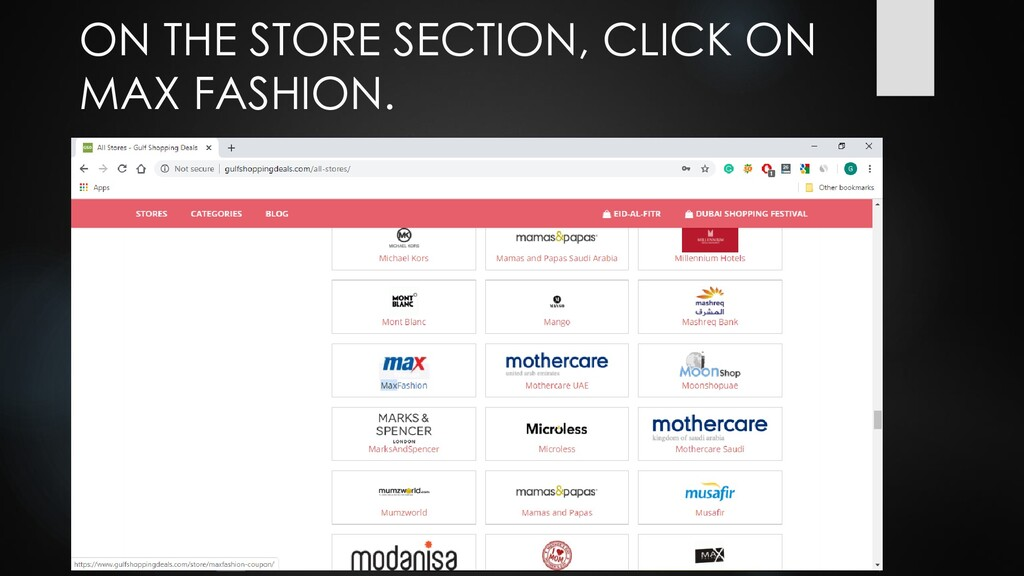 ON THE STORE SECTION, CLICK ON MAX FASHION.