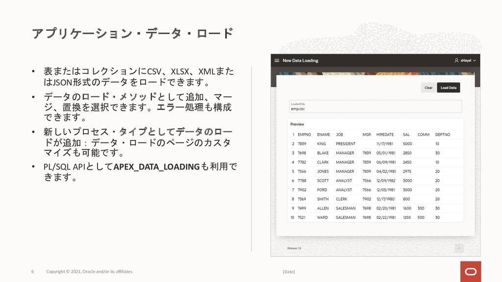 • 表またはコレクションにCSV、XLSX、XMLまた はJSON形式のデータをロードできます...