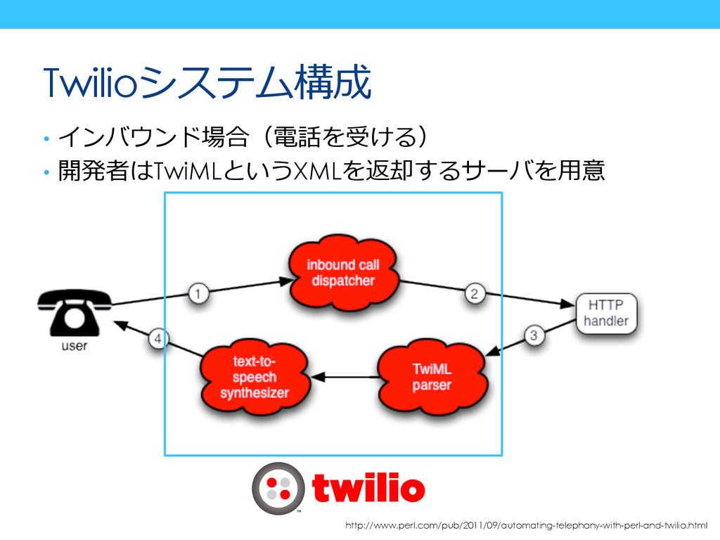 Twilioシステム構成 • インバウンド場合(電話を受ける) • 開発者はTwiMLとい...