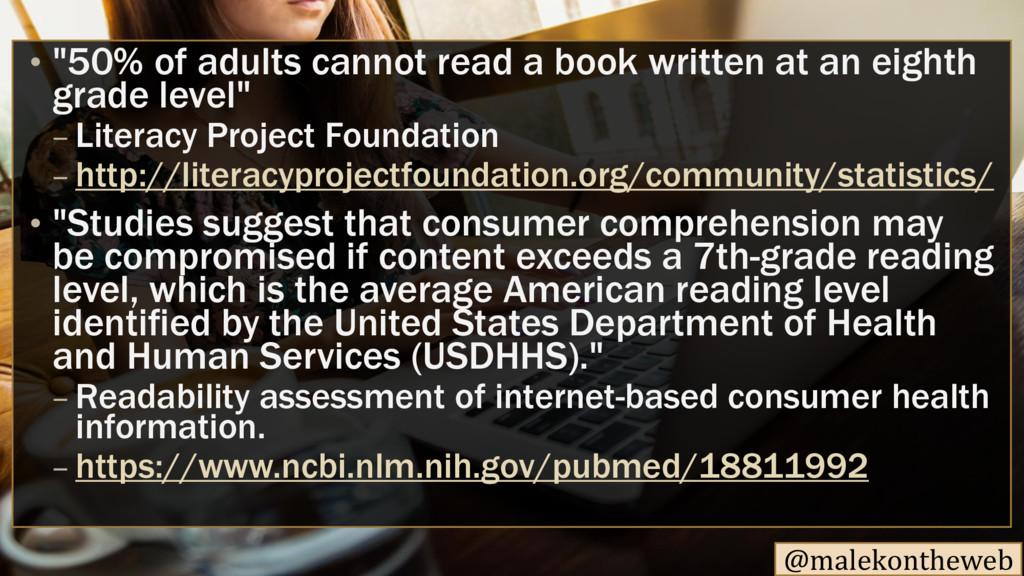 """@malekontheweb • """"50% of adults cannot read a b..."""