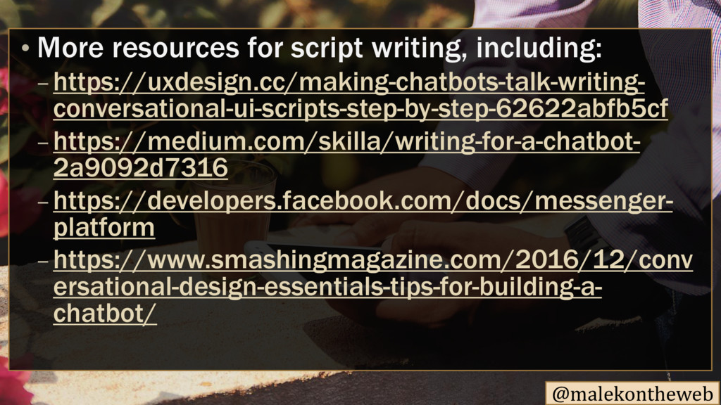 @malekontheweb • More resources for script writ...