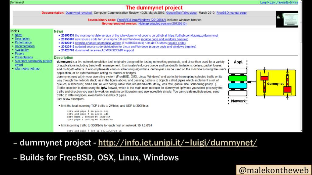 @malekontheweb dummynet – project - http://info...