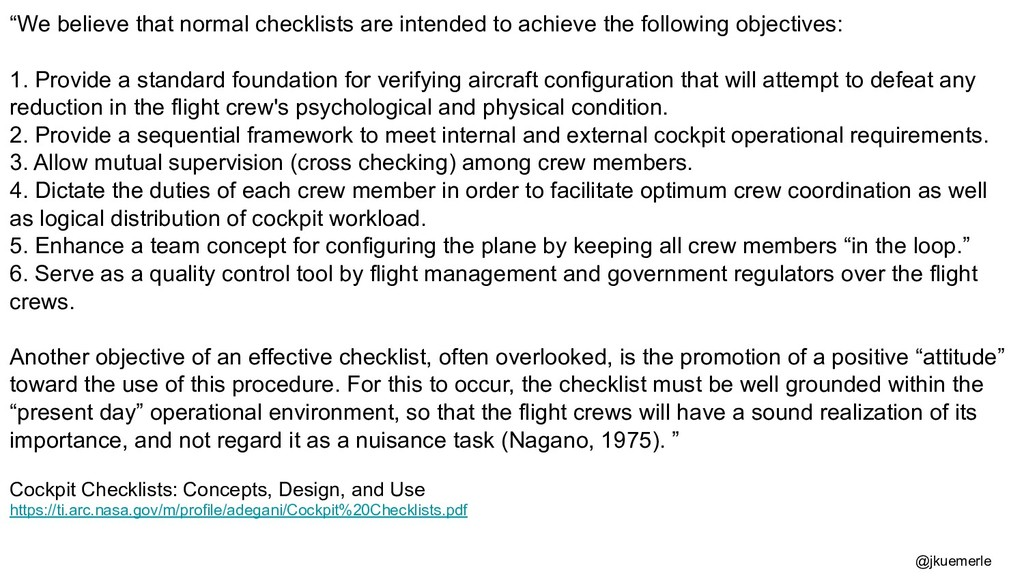 """""""We believe that normal checklists are intended..."""