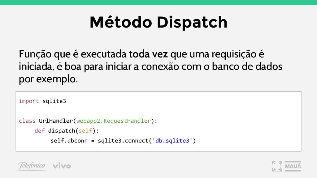 Método Dispatch Função que é executada toda vez...