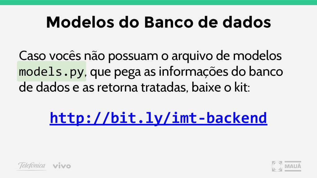 Modelos do Banco de dados Caso vocês não possua...