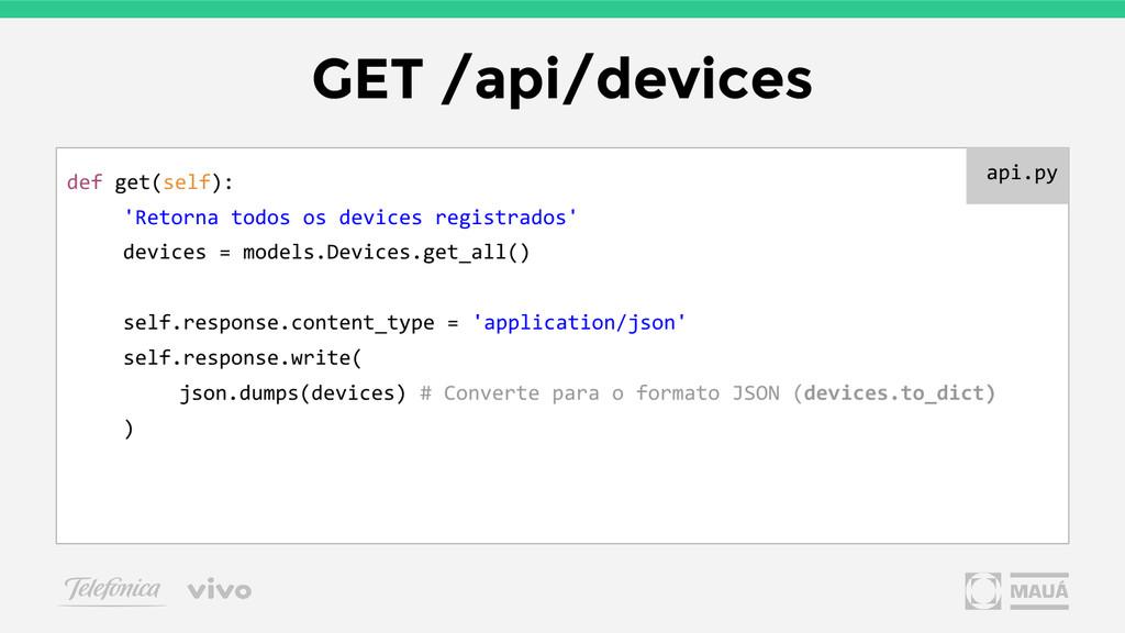 GET /api/devices def get(self): 'Retorna todos ...