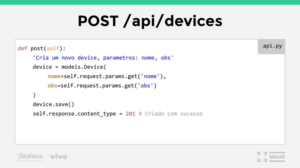 POST /api/devices def post(self): 'Cria um novo...