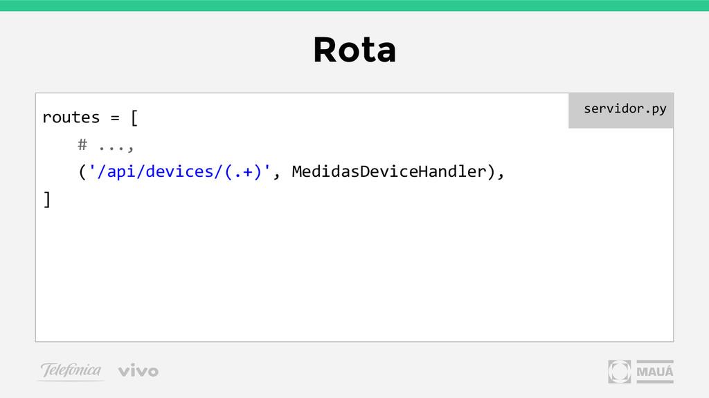 Rota routes = [ # ..., ('/api/devices/(.+)', Me...