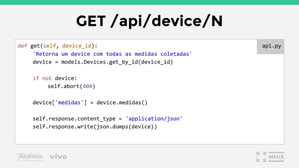 GET /api/device/N def get(self, device_id): 'Re...