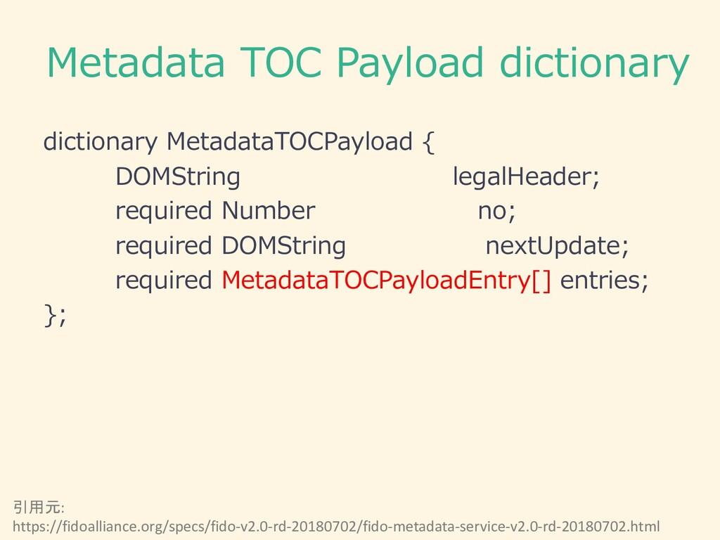 Metadata TOC Payload dictionary dictionary Meta...