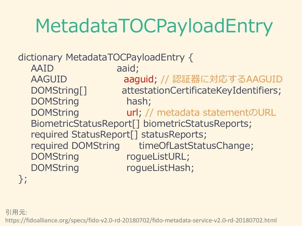 MetadataTOCPayloadEntry dictionary MetadataTOCP...