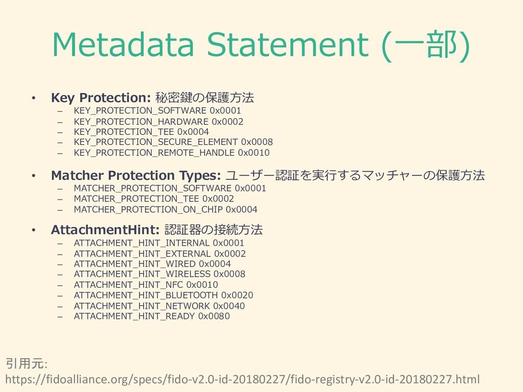 Metadata Statement (⼀部) • Key Protection: 秘密鍵の保...