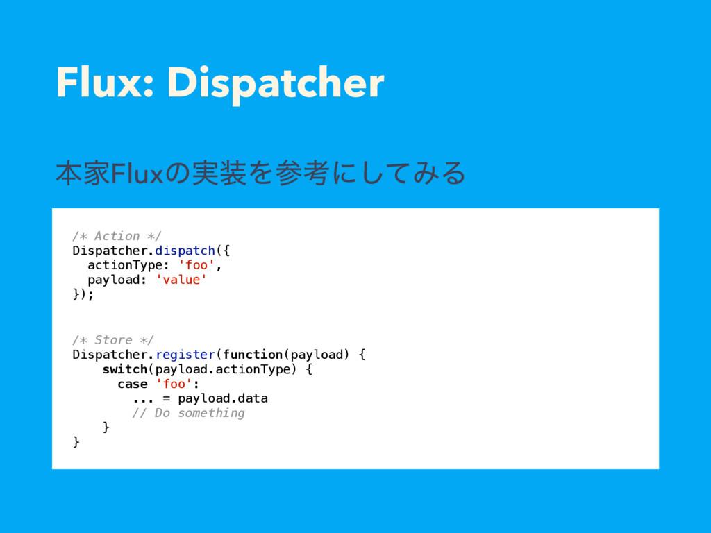 Flux: Dispatcher /* Store */ Dispatcher.registe...