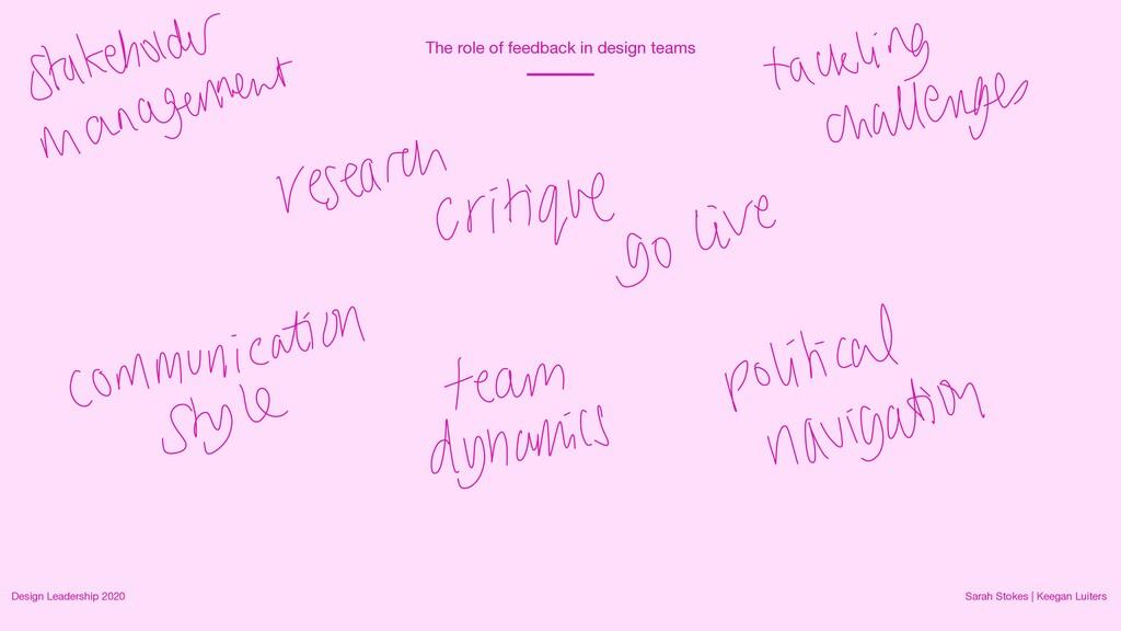 The role of feedback in design teams Design Lea...