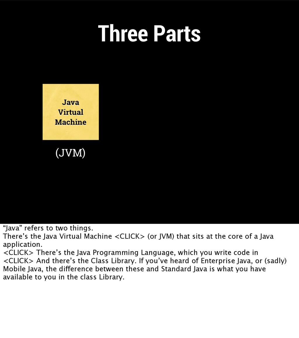 """Three Parts Java Virtual Machine (JVM) """"Java"""" r..."""