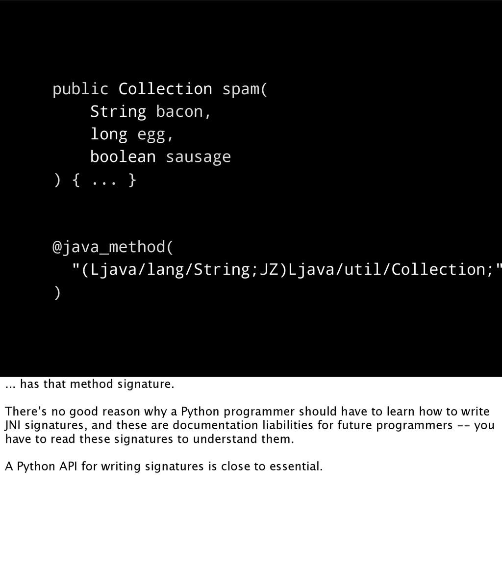 public Collection spam( String bacon, long egg,...
