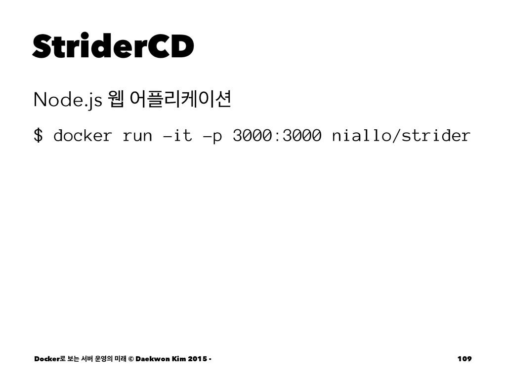 StriderCD Node.js ਢ যܻா $ docker run -it -p ...