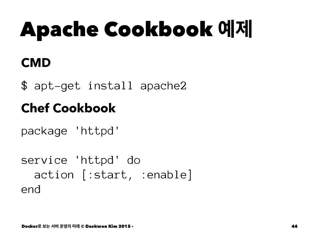 Apache Cookbook ઁ CMD $ apt-get install apache...