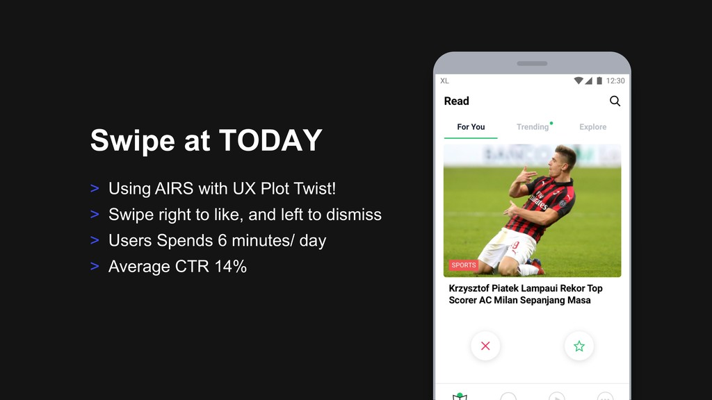 > Using AIRS with UX Plot Twist! > Swipe right ...