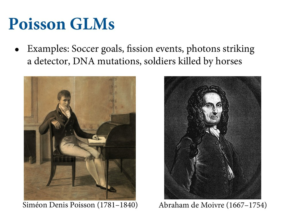 Poisson GLMs • Examples: Soccer goals, fission ...