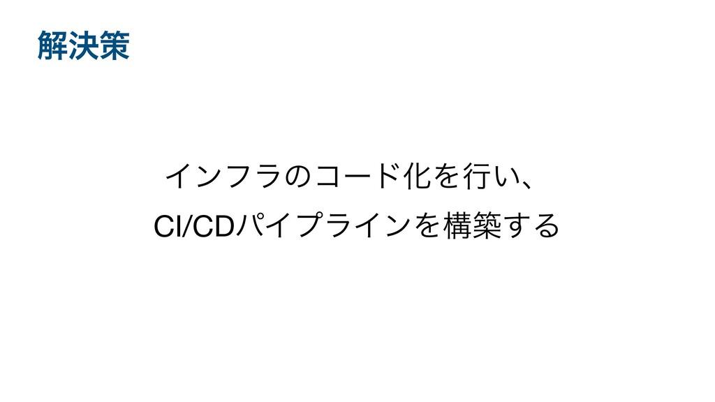 ΠϯϑϥͷίʔυԽΛߦ͍ɺ CI/CDύΠϓϥΠϯΛߏங͢Δ ղܾࡦ