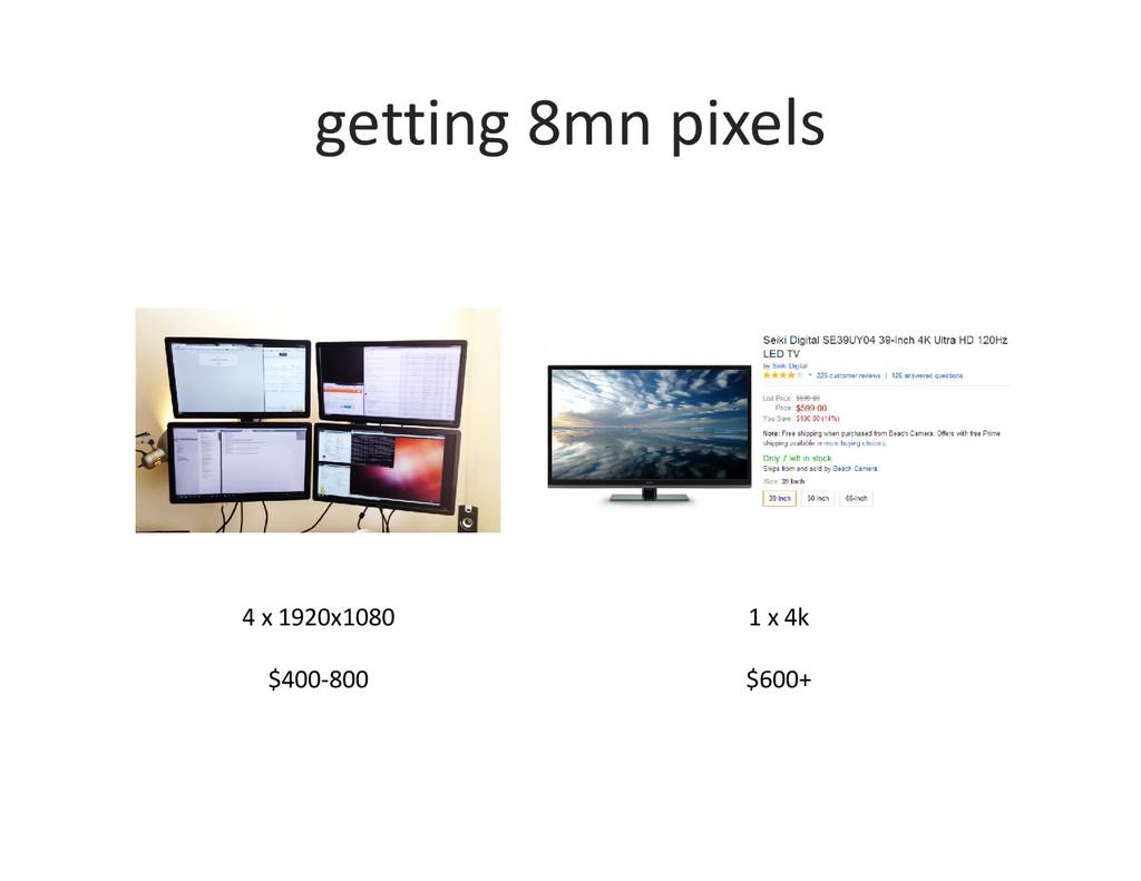 getting 8mn pixels 4 x 1920x1080 $400-800 1 x 4...