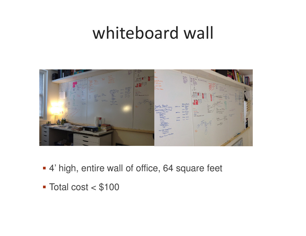 whiteboard wall 4' high, entire wall of office,...